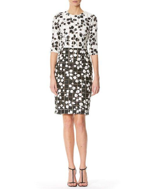 Carolina Herrera | Black Leaf-print Tweed Half-sleeve Dress | Lyst
