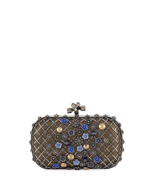 Bottega Veneta   Gray Metal Lattice Mini Knot Clutch Bag   Lyst