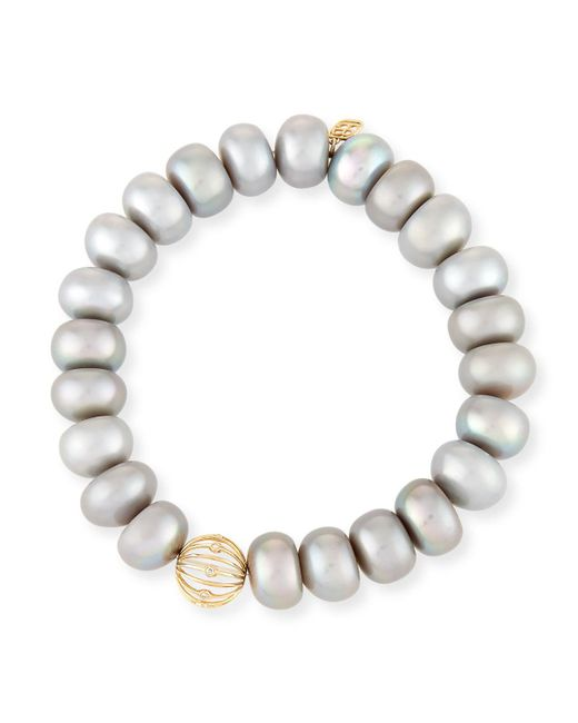 Sydney Evan | 10mm Gray Pearl Button Bracelet With Diamond Bezel Ball Station | Lyst
