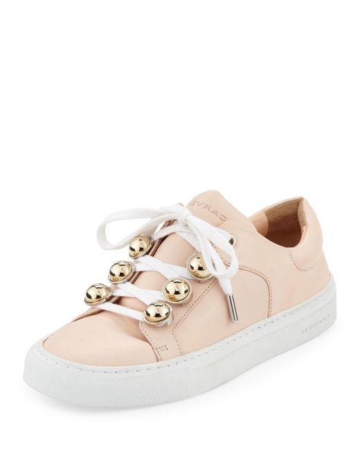 Carven   Natural Leather Dome-studded Low-top Sneakers   Lyst
