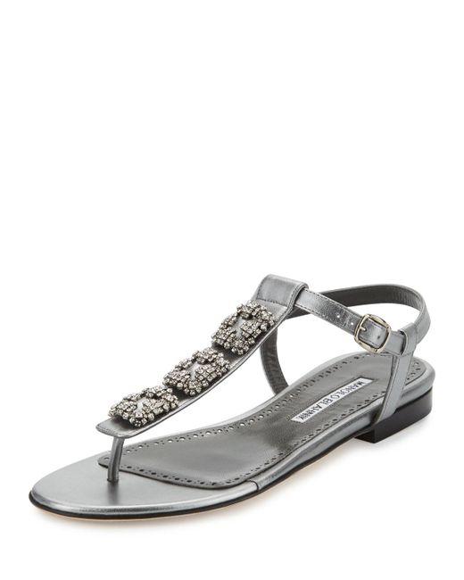 Manolo Blahnik | Metallic Ottolina Crystal T-strap Sandal | Lyst