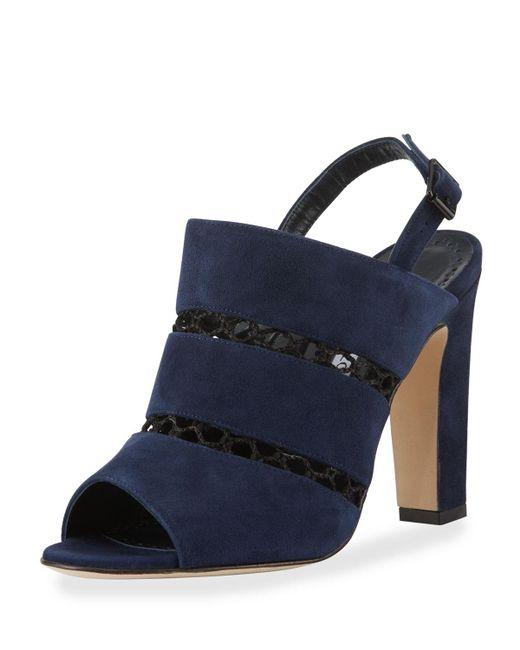 Manolo Blahnik | Blue Aspendum Suede Net Mule Sandal | Lyst