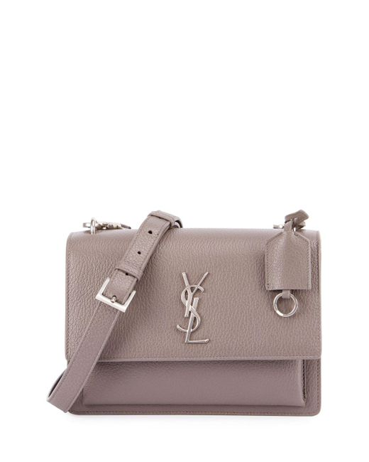 Saint Laurent | Gray Monogram Sunset Medium Satchel Bag | Lyst