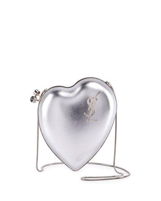 Saint Laurent | Gray Love Box Clutch Bag | Lyst