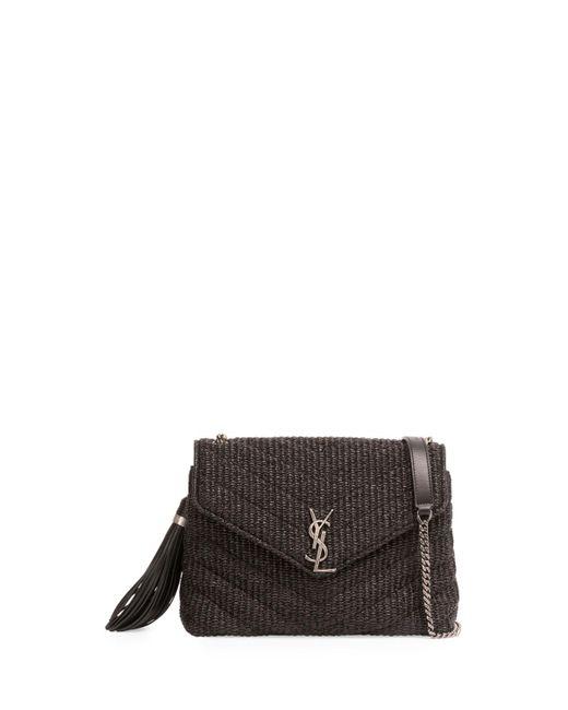Saint Laurent | Black Small Raffia Chain Shoulder Bag | Lyst