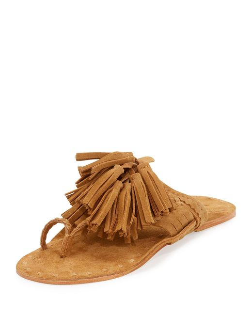 Figue   Brown Scaramouche Suede Tassel Thong Sandals   Lyst