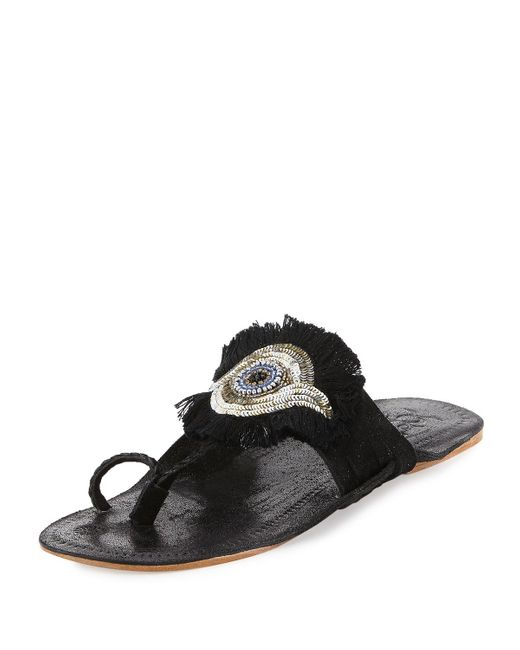 Figue   Black Evil Eye Medallion Flat Slide Sandal   Lyst