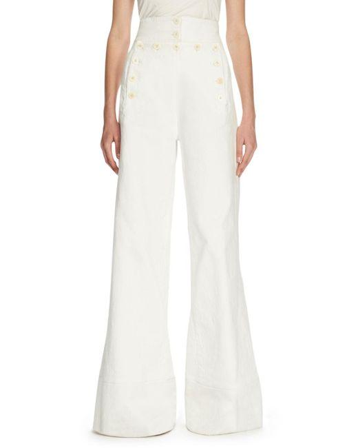 Chloé   White Sailor-button High-waist Jeans   Lyst