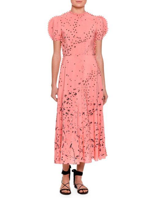 Valentino   Pink Metamorphosis Printed Tea-length Dress   Lyst