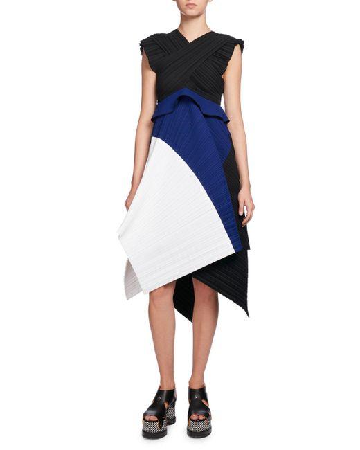 Proenza Schouler | Blue Plissé Colorblock A-line Dress | Lyst