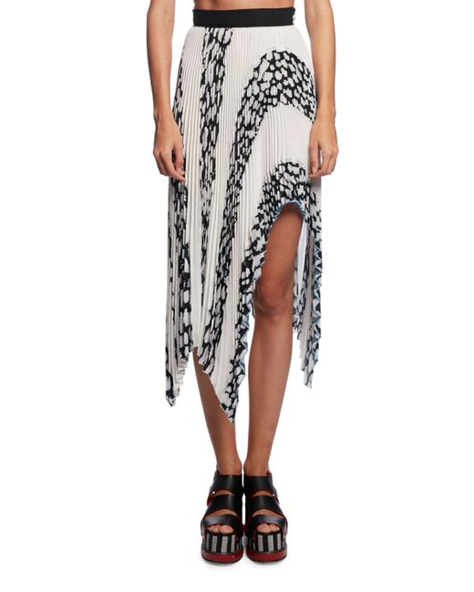 Proenza Schouler | Multicolor Asymmetric Pleated Cloque Midi Skirt | Lyst