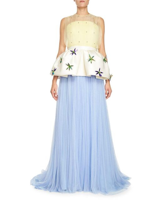 Delpozo | Blue Pleated Tulle Gown W/removable Peplum | Lyst