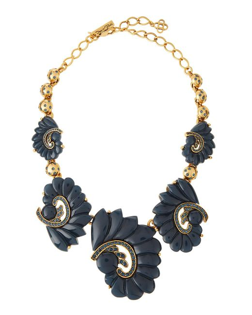 Oscar de la Renta | Metallic Resin Swirl & Crystal Necklace | Lyst