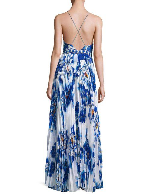 camilla embellished pleat skirt slip maxi dress in blue lyst