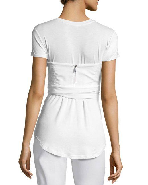 Johanna ortiz jardin short sleeve tee w bustier in white for Calvin klein jardin collection