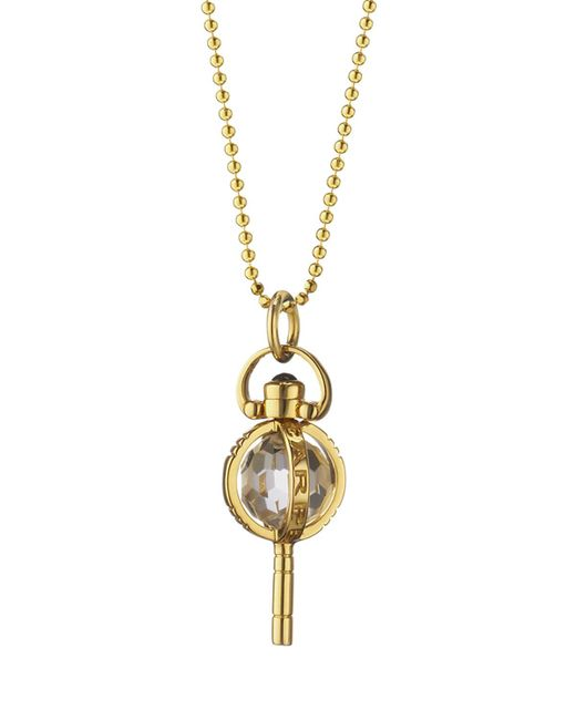 Monica Rich Kosann | Metallic Mini Carpe Diem Sapphire Key Necklace | Lyst