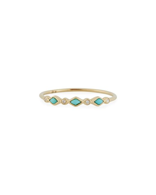 Sydney Evan | Metallic Turquoise Bezel & Diamond Stacking Ring | Lyst