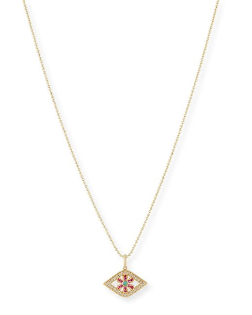 Sydney Evan | Metallic Turquoise & Ruby Flower Evil Eye Pendant Necklace | Lyst