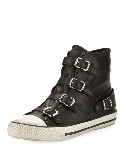 ash virgin leather buckle high top sneaker in black lyst. Black Bedroom Furniture Sets. Home Design Ideas