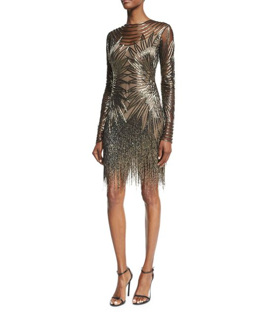 Naeem Khan | Gray Long-sleeve Fringed Cocktail Dress | Lyst