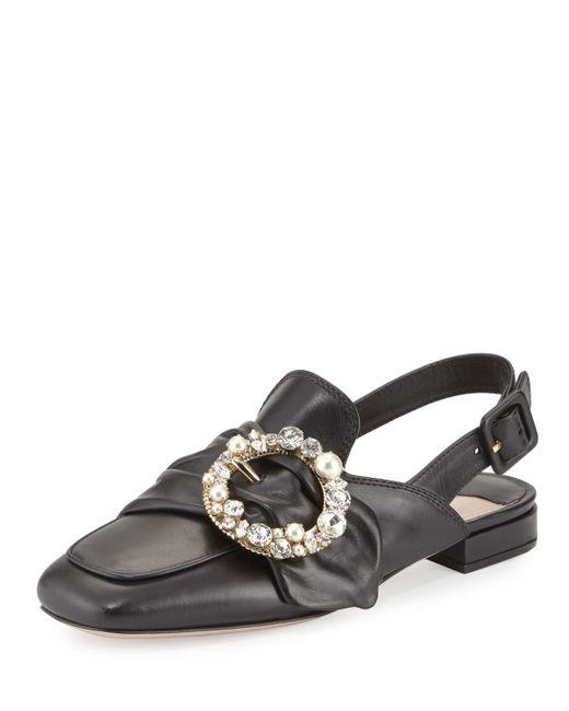 Miu Miu | Black Pearly-buckle Leather Slingback Flat | Lyst