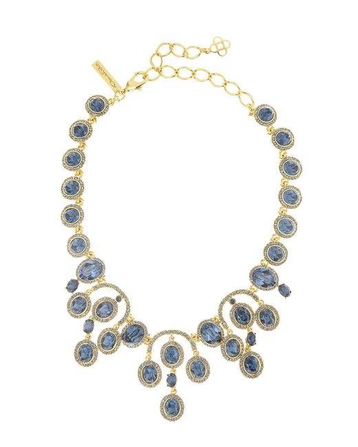 Oscar de la Renta | Metallic Pavé Oval Crystal Necklace | Lyst