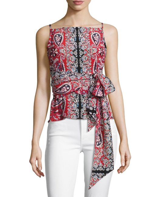 Nanette Lepore | Red Anchors Away Paisley Silk Top | Lyst