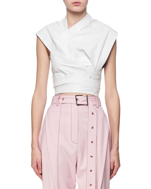 Proenza Schouler | White Cap-sleeve Leather Wrap Top | Lyst