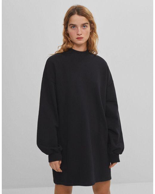 Sudadera Vestido Cuello Perkins Bershka de color Black