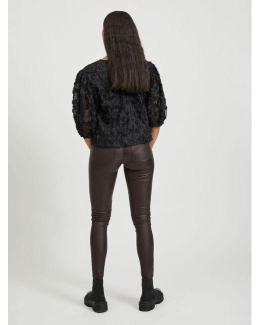 Object Collectors Item Gebloemde Top Met 3/4 Mouwen in het Black