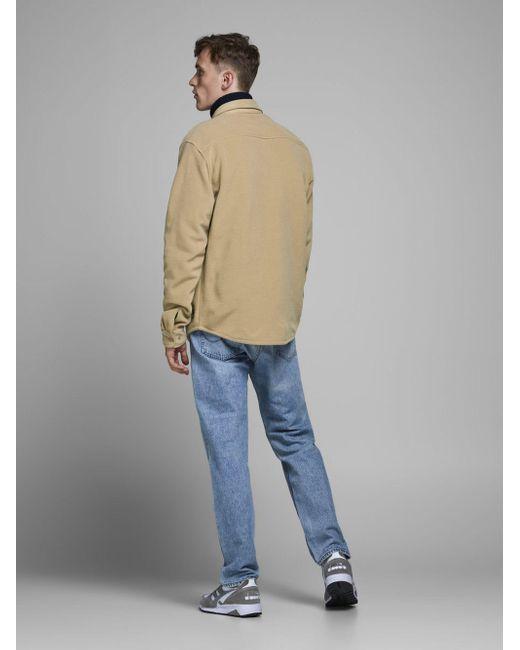 Jack & Jones Fleece Overshirt in het Natural voor heren