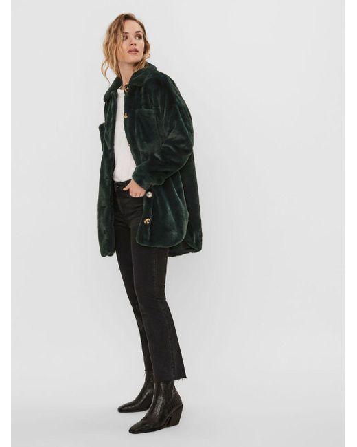 Vero Moda Faux Fur Shirt Jas in het Green