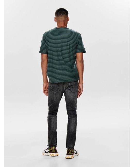 Only & Sons Onsloom Damage Grey Skinny Fit Jeans in Gray für Herren