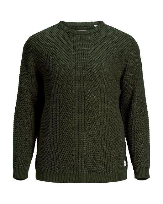 Jack & Jones Gestructureerde Plus Size Pullover in het Green voor heren