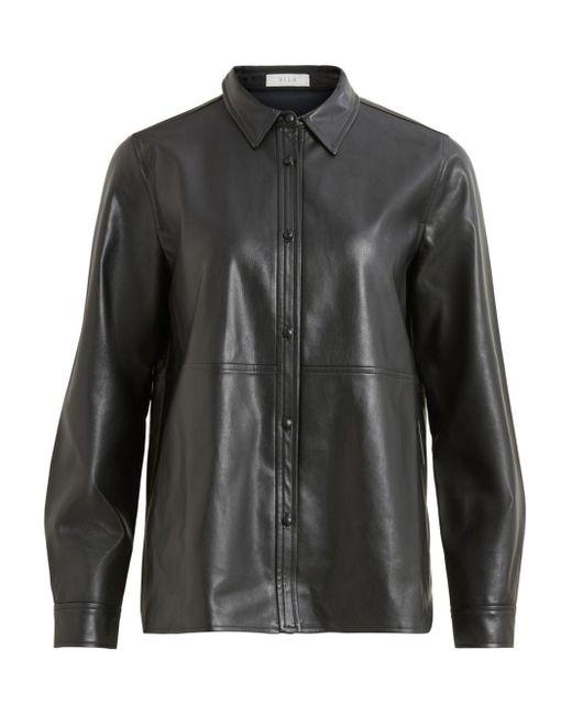 Vila Imitatieleren Overhemd in het Black