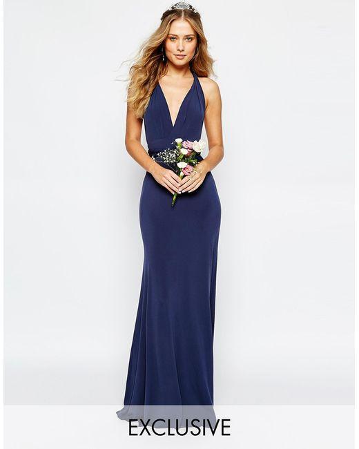 Tfnc Wedding Multiway Fishtail Maxi Dress In Blue Navy