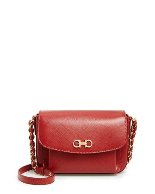 Ferragamo | Red 'sandrine' Leather Shoulder Bag | Lyst