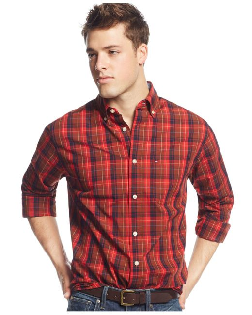 Tommy hilfiger big and tall redding plaid long sleeve for Tall button down shirts