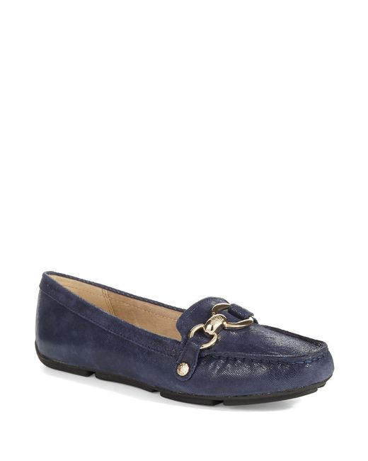 Anne Klein | Blue Myles Leather Loafers | Lyst