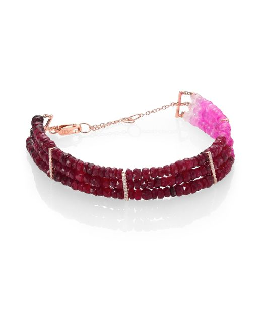 Meira T | Red Ruby, Diamond & 14k Yellow Gold Ombre Three-row Beaded Bracelet | Lyst