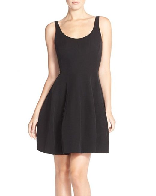 Betsy Amp Adam Brushed Taffeta Fit Amp Flare Dress In Black Lyst