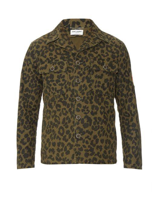 Saint Laurent Camouflage Leopard Print Field Jacket In