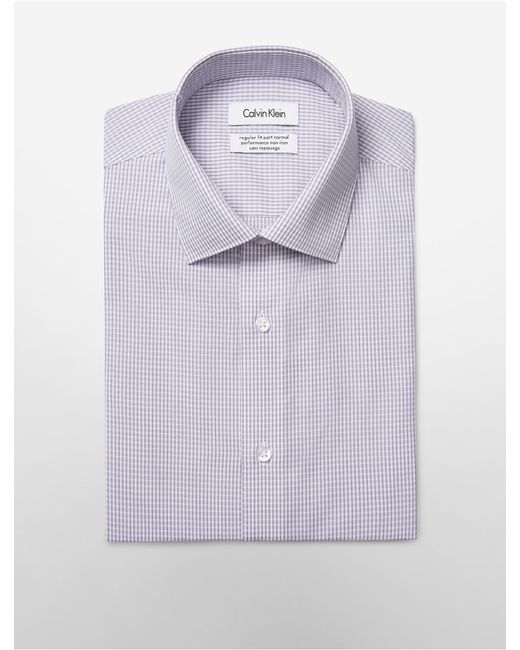 Calvin klein white label steel regular fit non iron purple for White non iron dress shirts