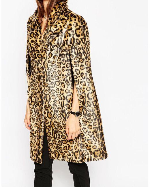 Asos Cape In Faux Leopard Fur In Multicolor (Multi)