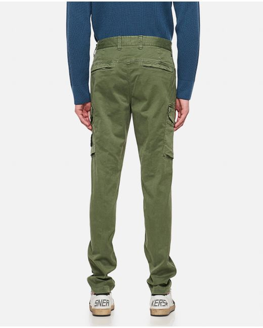 Stone Island Green Cotton Twill Slim Cargo Pants for men