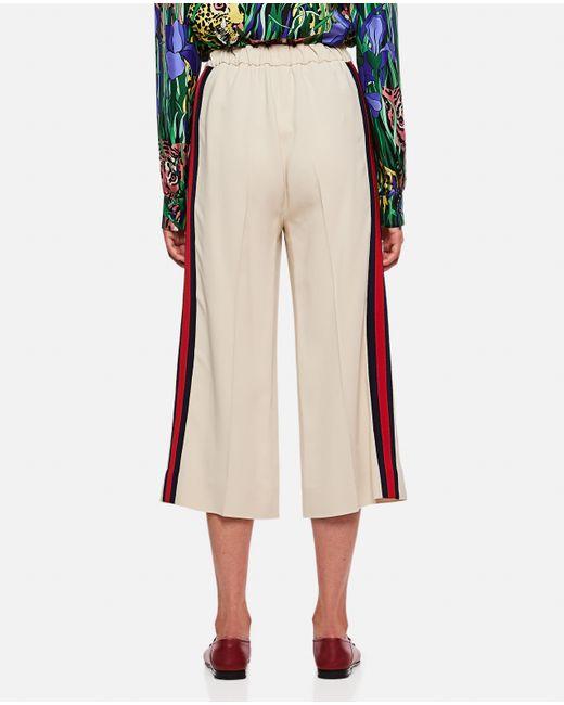 Pantalone culotte in viscosa con nastro Web di Gucci in Natural