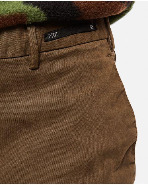 Pantalone Chino slim di PT01 in Brown da Uomo