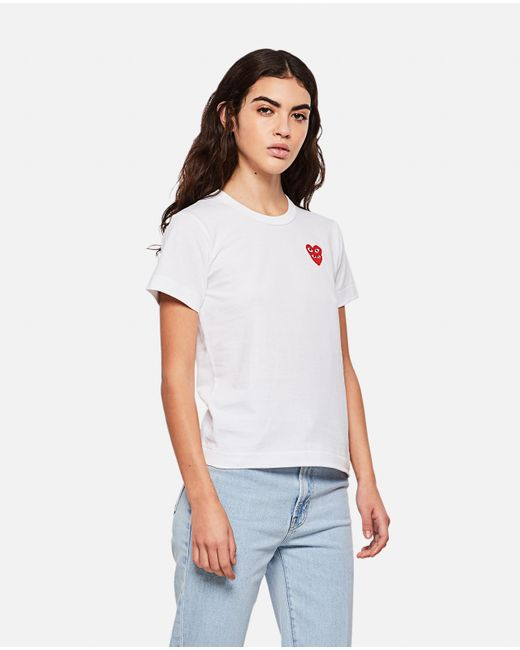 COMME DES GARÇONS PLAY White T-shirt With Hearts