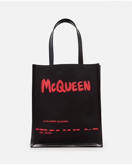 Tote Bag in jacquard con stampa graffiti McQueen di Alexander McQueen in Black da Uomo