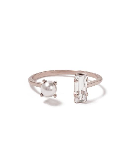 Bing Bang Metallic Open Pearl Baguette Ring